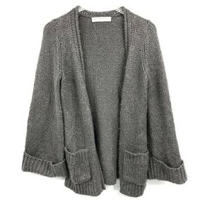 Trina Turk Cardigan Sweater XL Metallic Silver Spa